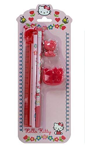 Hello Kitty rosa pink Lineal, Bleistift, Buntstift (malt in 4 Farben gleichzeitig), Schule Schulanfang ideale Geschenkidee Nikolaus Weihnachten von Trends ()