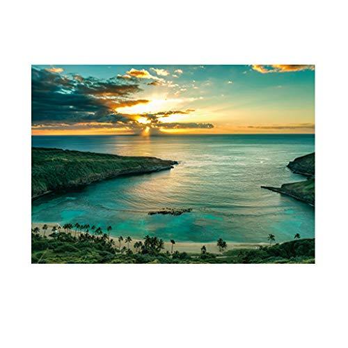 B Blesiya Abendsonne Meer Aufkleber Hintergrund für Aquarium - 61 x 30 cm