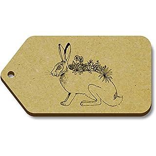 Azeeda 10 x 'Floral Hare' 66mm x 34mm Gift Tags (TG00080629)