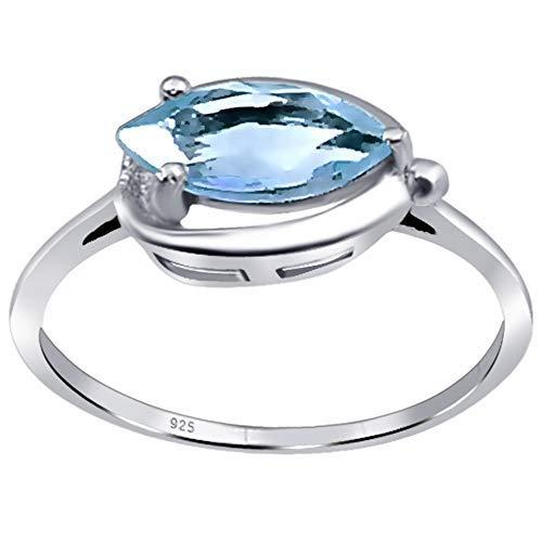 Orchid Jewelry Damen-Ring Blautopas für Frauen Sterling-Silber 925 Geburtsstein Dezember Größe N (1,35 Karat)