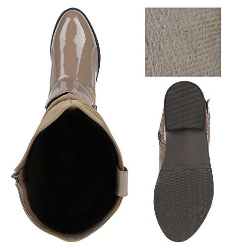 Stiefelparadies Klassische Damen Stiefel Leder-Optik Boots Blockabsatz Schuhe Flache Booties Flandell Khaki