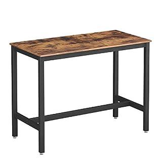 VASAGLE Table Haute de Bar Vintage, Table Polyvalente avec Armature en Fer, pour Boissons, Cocktails, Bar, Brasserie, Restaurant, Salon, Cuisine, Stable, Aspect Texture du Bois LBT91X