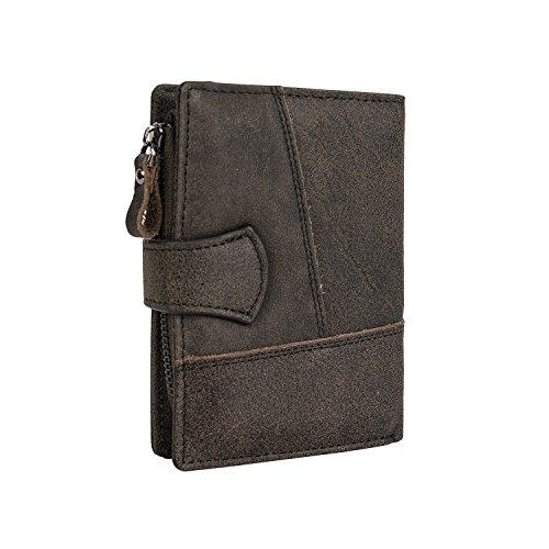 CloSoul Direct Herren Geldbörse aus achtem Leder mit Münzefach mit Reißverschluss hochformat Portemonnaie Geldbeutel khaki Kaffeebraun 1