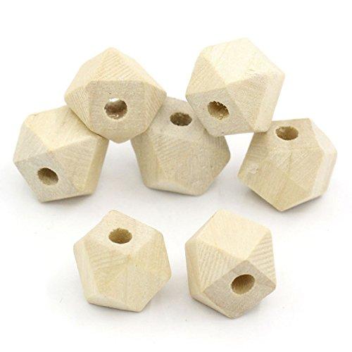 20 pz, forma a poligono, legno, perline geometriche, D. 13 x 10 mm, foro 2,9 mm