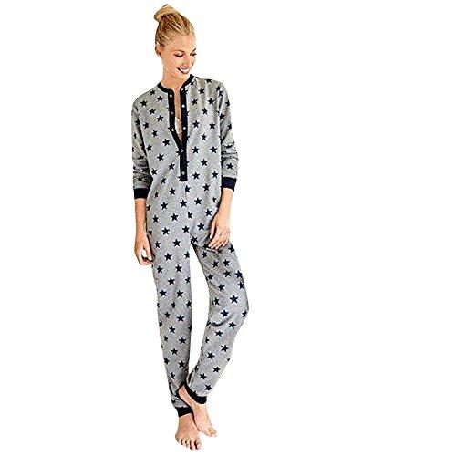 Damen Jumpsuit Pyjamas FORH Frauen Langarm Weihnachten Elch Bedruckt Overall Nachthemden Winter warm lang hoodie Schlafanzüge Hosenanzug Jumpsuit Anzug Sleepwear Overall (L, Star)