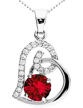 MYA art Kette Halskette Herzketten 925 Sterling Silber mit Herz Anhänger Swarovski Elements Ornament Kristallen...