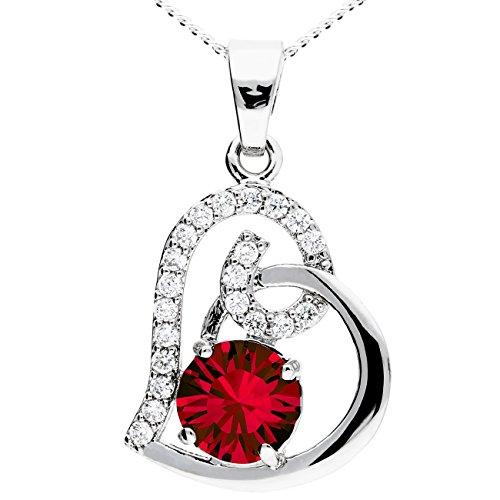 MYA art Kette Halskette 925 Silber Rhodiniert Herz Anhänger mit Swarovski Elements Strass Kristallen Weiß Zirkonia Rubin Rot MYASIKET-8