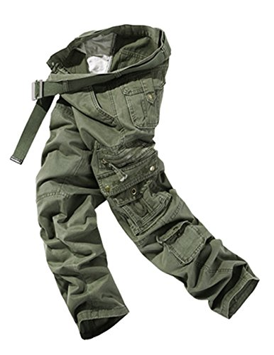 Menschwear Herren Cargo Hosen Freizeit Multi-Taschen Military pantaloni Ripstop Cargo da uomo (36,Grün) (Slim Herren Assn Polo Us Jean)