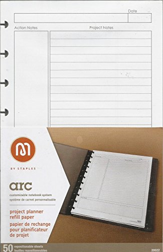 Staples Arc Notebook Project Planner Filler Paper, Junior-sized, White, 50 Sheets by Staples