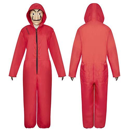 leidung Tarnung Männer, Erwachsene Erwachsene mit Maske, Overall rot, Overall, Karneval Karneval Nacht,S ()