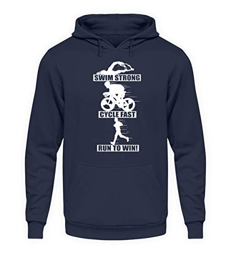 Triathlon Sprüche T-Shirt - Laufen Schwimmen Rad Fahren Mehrkampf Triathleten Geschenk - Unisex Kapuzenpullover Hoodie -M-Oxford Navy
