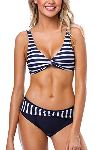 CharmLeaks Damen Triangle Bikini Push-up Bandeau herausnehmbare gepolsterte Cups Bademode Oberteil + Slip Streifen 2XL (Buffalo Kissen)