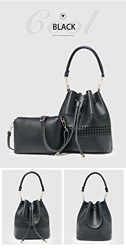 Beylasita Sacchetto di modo delle donne 2 pezzo PU Pelle Borsa a tracolla borsa 5 colori (Rosa) Nero