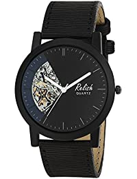 RELISH RE-S8134BB Black Slim Analog Watches For Men's And Boy's