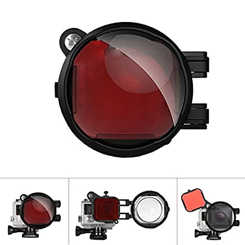 Fantaseal® Professional 2-in-1 Diving Lens Combo for GoPro Diving Lens Filter GoPro Underwater Lens Filter GoPro Lens GoPro Filter, Diving Red Color Correction Filter + 16X Close Up Macro Lens w/ Anti-Loose Safety Lock for GoPro Hero 4 / Hero3+ /GoPro Hero / GoPro Hero+ / GoPro Hero+LCD / GoPro Hero 3 White Slim Edition (for Blue/Tropical Water)