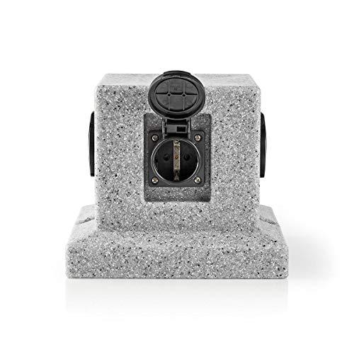 TronicXL Premium IP44 Garten Stein Design Steckdosenleiste 4-fach Verteiler steckdose 4er 4fach Outdoor Außenbereich Steinoptik Steckerleiste Würfel Steckdosenwürfel gartensteckdosenleiste