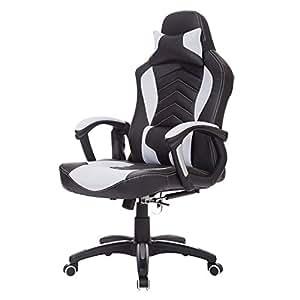 Chaise de bureau fauteuil de massage massante réchauffage chauffant gamer (noir et blanc)