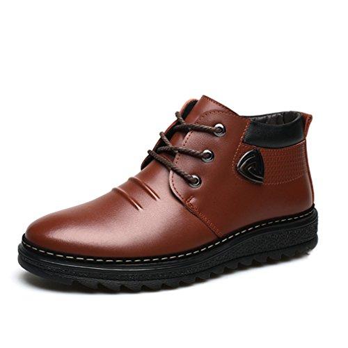 Feidaeu Bottes Neige Lacet Hommes Coton Chaud Loisir Antidérapant Boots Brun