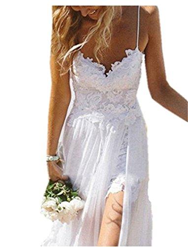 6189540cd SHUNLIU Vestidos de Fiesta Vestidos Largos de Mujer de Encaje sin Mangas  Vestido de Novia Blanco