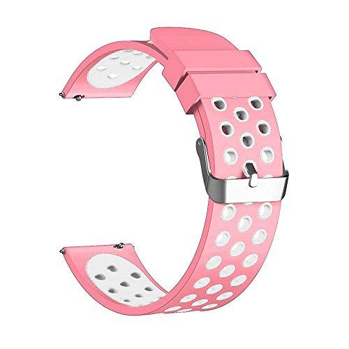 Leegoal Armband Ersatz-Armband für Fitbit Versa, Weicher Silikon Verstellbare Ersatz Sport Handgelenk Band für Fitbit Versa Smart Watch–Dual Farbe, Rosa/Weiß