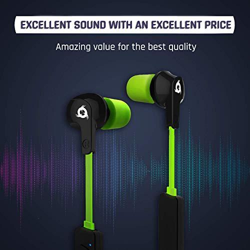 KLIM Pulse Bluetooth 4.1 In-Ear Kopfhörer 2019 Version Kabellose Kopfhörer – Geräuschreduzierung – Perfekt für Sport, Musik, Anrufe, Gaming – Magnetisch Memory Schaum Ohrstöpsel Grün - 2