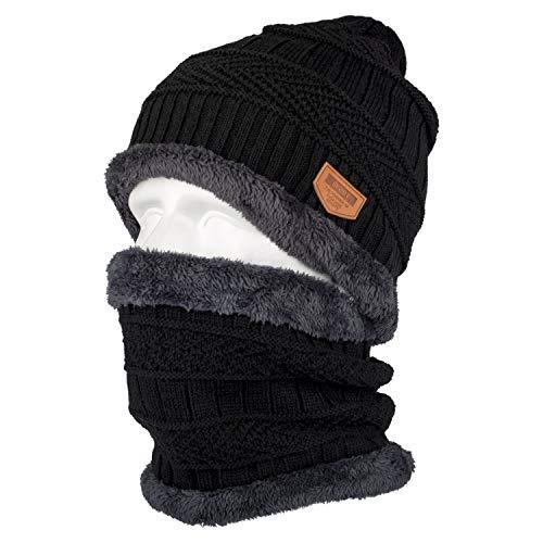 Xpassion Wintermütze Mann, 2 Stück Outdoor Ski Mütze und Mütze Set Mann Kinder Wintermützen Mann Mütze Strick mit Schal Mütze