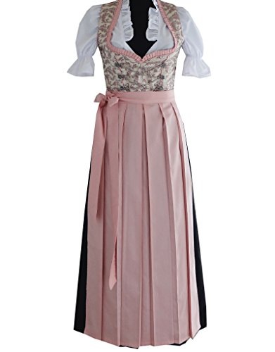 3tlg. Dirndl Damen Kleid RT-361, Rosa, Gr. 38