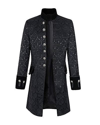 unk Gothic Jacke Vintage Viktorianischen Uniform Cosplay Kostüm Retro Mantel Schwarz 5XL ()