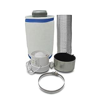 Grow Lüftungsset Klimaset Abluft-Filter Ø125mm bis 350 m³/h, Zentrifugal Lüfter 240 m3/h für Growbox