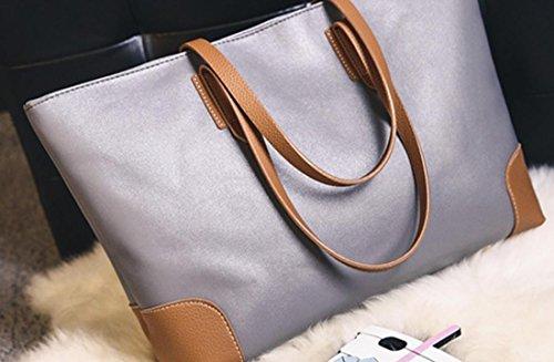Femmes sacs à main sac à bandoulière PU Sac fourre-tout en cuir , grey Grey