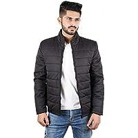 Street27 Men's Quilted Bomber Windbreaker Winter Waterproof Warm Casual/Outdoor Zipper Stand Collar Jacket - Black - M