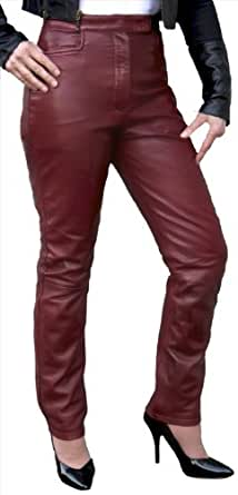 Luxury Smart Soft Leather Trousers/Jeans - Ladies/Womens (Burgundy Red, Waist 34 in)