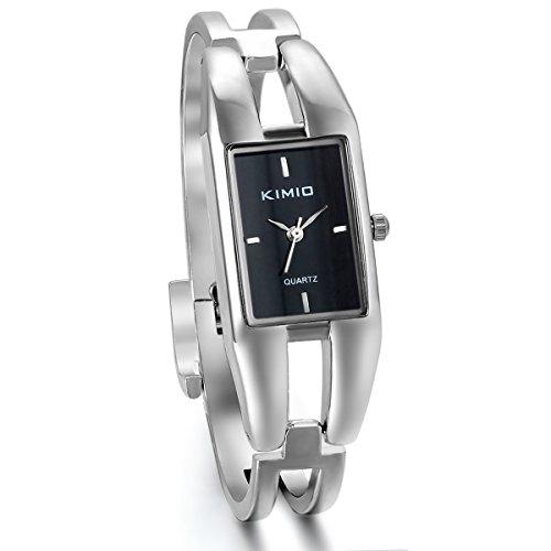 JewelryWe Damen Armbanduhr, Elegant Charm Casual Analog Quarz Uhr mit Schwarz Rechteck Zifferblatt