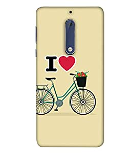 Nokia 5 Back Cover / Nokia 5 Back Case Vintage Hipster Bicycle I Love My Bike Vector Illustration Design From FUSON