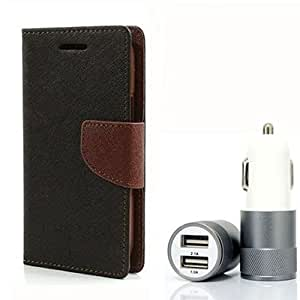 Aart Fancy Diary Card Wallet Flip Case Back Cover For Mircomax Q345 - (Blackbrown) + Dual ports USB car Charger With Ultra Power Technolgy by Aart Store.