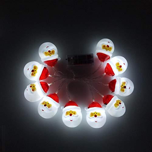 Lichterkette,FeiliandaJJ 1.6M 10pc Weihnachtsmann Schneemann-Lichterkette LED Lichterkette Innen/Außen Deko Hochzeit Party Halloween Weihnachten Haus Deko String Lights 2xAA Batterie (A)