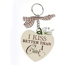 I Kiss Better Than I Cook de madera en forma de corazón llavero AV esmerilón