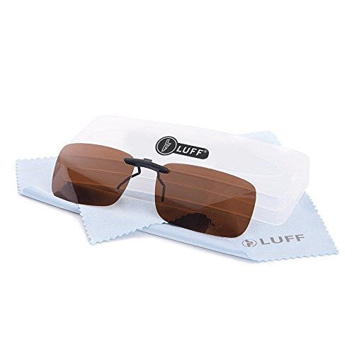Clip unisex polarizzata su occhiali da sole per occhiali da vista-occhiali da sole stile clip buoni per occhiali miopia all'aperto / guida / pesca (brown)