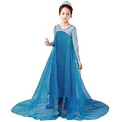 Yanhoo Karneval Mädchen Baby Einfarbig Lange Ärmel Bling Prinzessin Mesh Tüll Kleider+Cloak,Kleinkind Cosplay Kostüm Party Prinzessin Kleid Abendkleid Tanzkleid Hemdkleid
