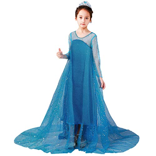 Mädchen Kinder Langarm Pailletten Tüll Taufkleid + Umhang Cosplay Prinzessin Rock Party Kleid Halloween Festival Geburtstag Fotoshooting Magie Faschingskostüm Festkleid Fancy Dress Up (Festzug Fancy Dress Kostüm)