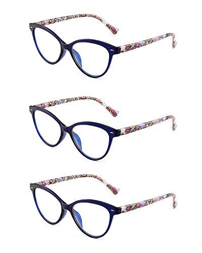 JM 3 Pack Mode Designer Katzenauge Lesebrille Federscharnier Brillen für Leser Damen +3.0 Blau - 3 Paar Lesebrille