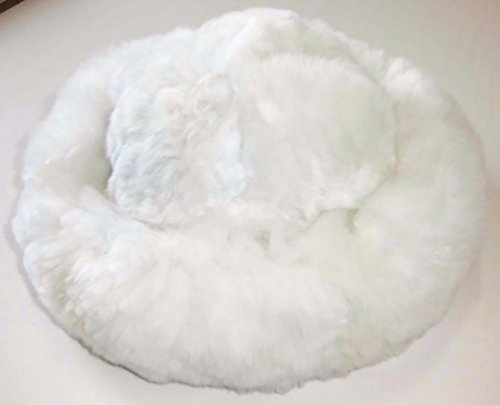 Alpacaandmore Womens White Baby Alpaca Fur Mongolian Hat Satin Lined
