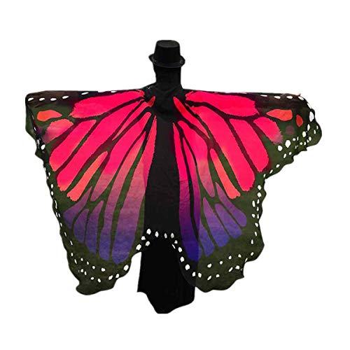 Smniao Damen Weicher Gewebe Schmetterlings Flügel Schal, Feenhafte Nymphen Pixie Halloween Cosplay Karneval Zubehör Weihnachten Kostüm Zusatz (197 * 125CM, Heiß Rosa-A)