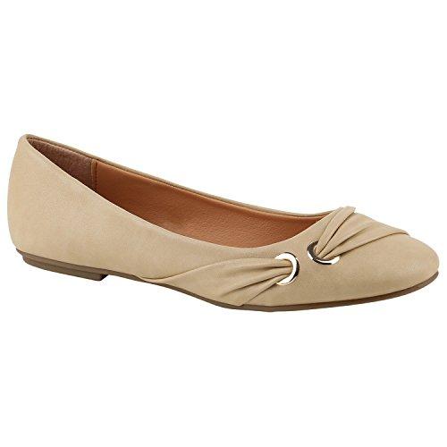 Stiefelparadies Klassische Damen Strass Ballerinas Elegante Slipper Übergrößen Metallic Glitzer Flats Schuhe 142336 Creme Beige 39 Flandell