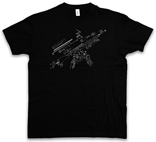 AK47 BLUEPRINT T-SHIRT – Mitragliatrice Fucile cianotipo Copia cianografica AK 47 74 Gun MG Machine Automatic Rifle War Russian Guerilla Taglie S – 5XL Nero