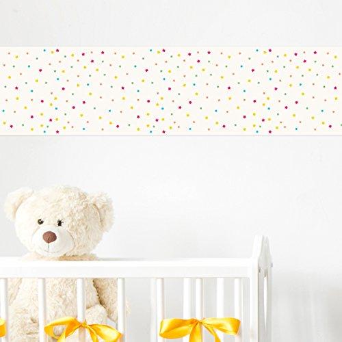 Wandkings Bordüre - Wähle ein Motiv - Sterne - 3x selbstklebende Wandbordüren je 150 cm - Gesamtlänge: 450 cm - Höhe: 12,5 cm