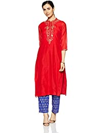 Trishaa by Pantaloons Women's Modal Satin Straight Pant Kurta Set