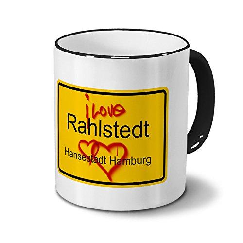 Städtetasse Rahlstedt - Hansestadt Hamburg - Design Ortsschild Graffiti - Stadt-Tasse, City-Mug, Becher Schwarz
