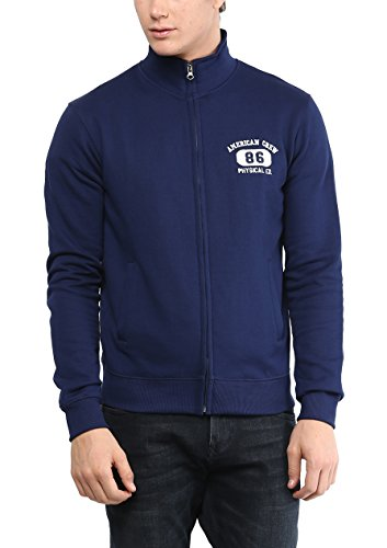 American Crew Men's Solid Full Sleeves Navy Melange Zipper Jacket With Applique -M (ACJK03-M)