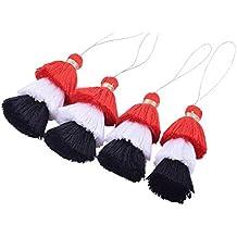 Konmay 4pcs Tri-colors 8,1cm (8.0cm) 3couches Craft Fibre pompons avec passant de suspendre Rouge/noir